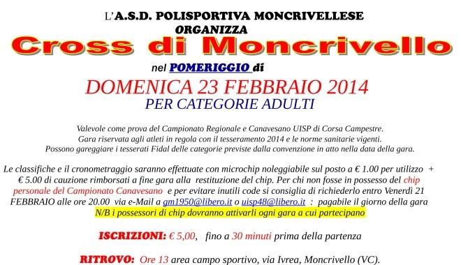Volantino Cross Moncrivello 2014