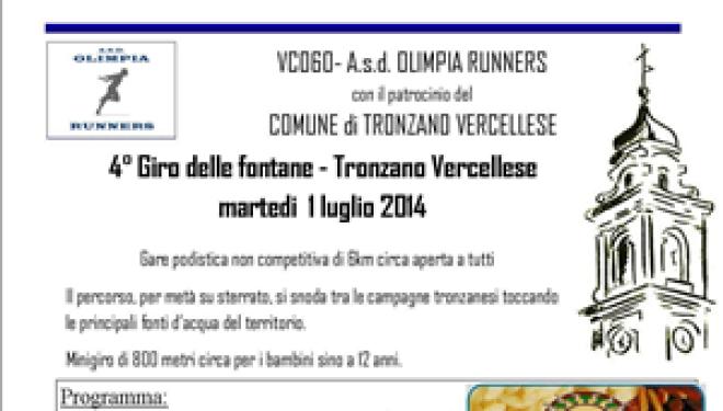 """Tronzano: Martedì 1 luglio il """"Giro delle Fontane"""""""